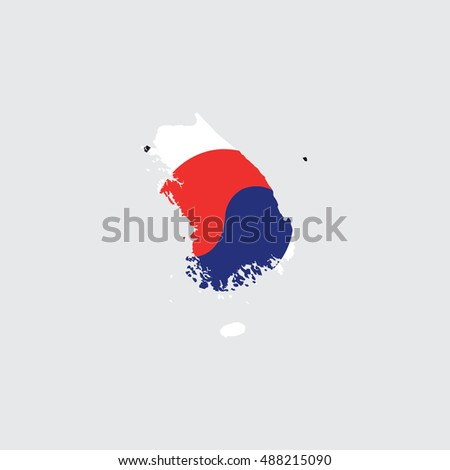 Illustrated Country Shape with the Flag inside of South Korea
