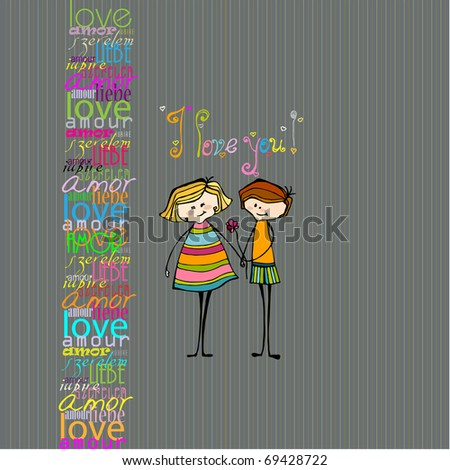 illustrated cute couple with flower for your valentine's day design - stock photo