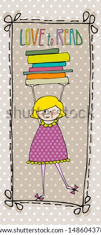 illustrated cute little girl with books  - stock photo
