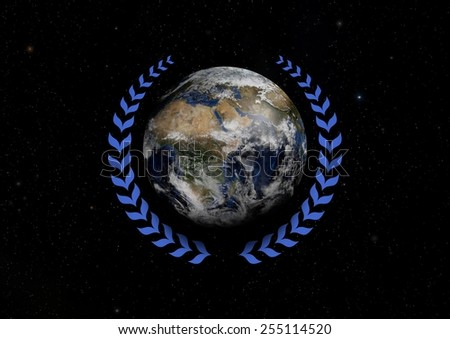 Illustrated Earth with a blue Laurel wreath Elements of this image furnished by NASA - stock photo
