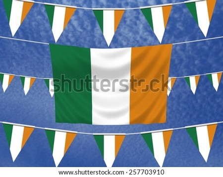 Illustrated flag of Ireland with bunting and a sky background - stock photo
