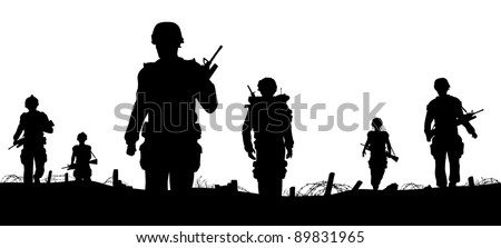 Illustrated foreground of silhouettes of walking soldiers on patrol - stock photo