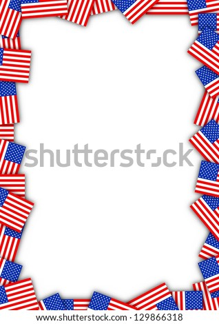 Illustrated frame made of United states flags - stock photo