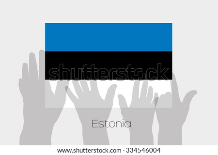 Illustrated Ghost Hands with the Flag of Estonia - stock photo