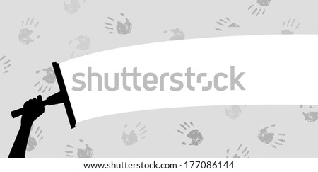 Illustrated hand holding a squeegee cleaning hand prints off a window or wall - stock photo
