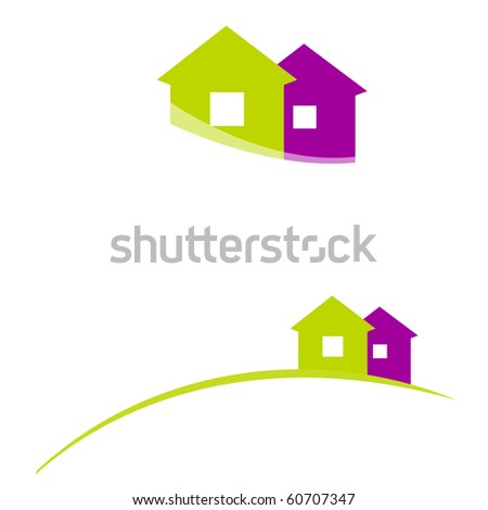 illustrated house icons - stock photo