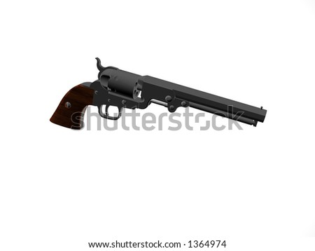 Illustrated Isolated old army pistol - stock photo