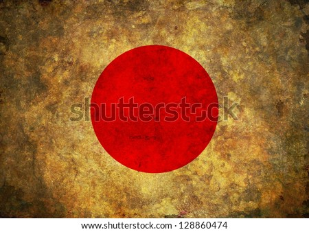 Illustrated Japan flag with worn grunge effect