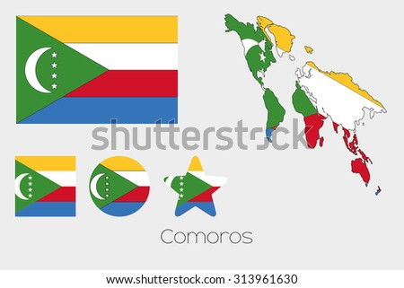 Illustrated Multiple Shapes Set with the Flag of Comoros