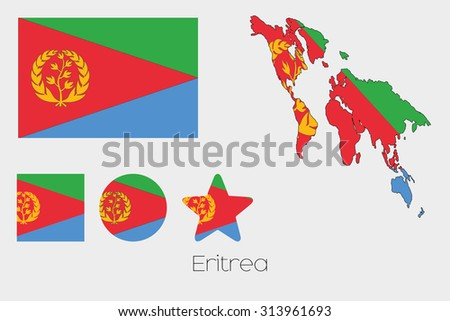 Illustrated Multiple Shapes Set with the Flag of Eritrea