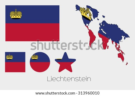 Illustrated Multiple Shapes Set with the Flag of Liechtenstein