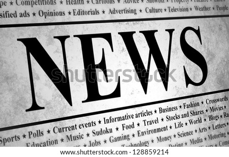 Illustrated of a newspaper with news related text - stock photo