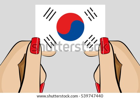 Illustrated Pop Art Hand holding the Flag of  South Korea