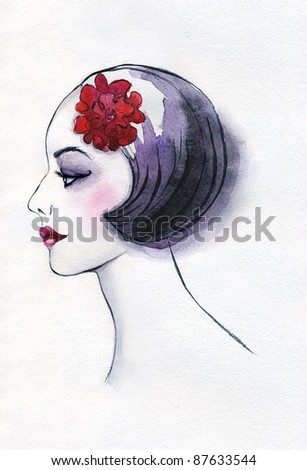 illustrated portrait of beautiful girl with flower in her hair | watercolor — collection series - stock photo