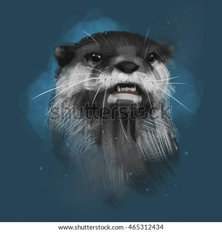 Illustrated Portrait of Otter. Cute face of aquatic Otter on blue background.