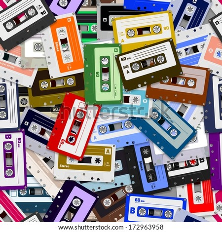 Illustrated seamless background made of cassette tapes - stock photo