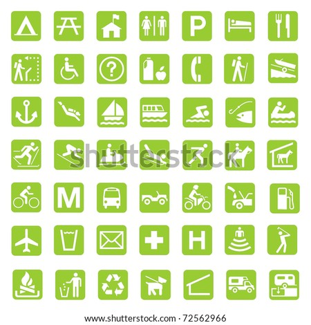 Illustrated set of signs associated with the countryside and national parks, in eco green white background.