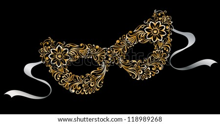 Illustrated silhouette masks, as the flower pattern and ornament vector vector format look in my portfolio - stock photo