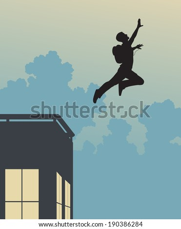 Illustrated silhouette of a base-jumper leaping off a building - stock photo