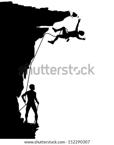 Illustrated silhouette of a climber falling from a breaking overhang