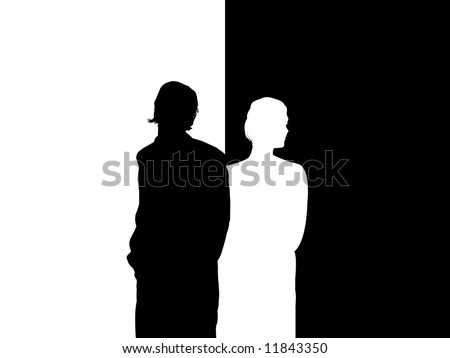 Illustrated silhouette of couple facing away from each other - stock photo