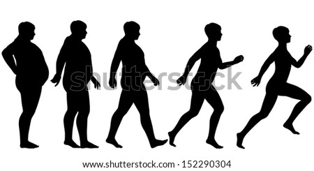 Illustrated silhouette sequence of a man losing weight and gaining fitness through exercise - stock photo