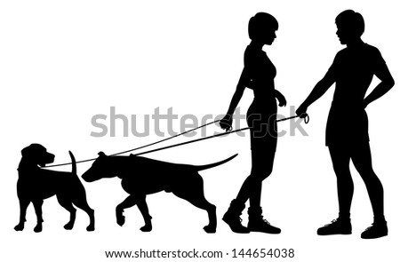 Illustrated silhouettes of a man and woman and their pet dogs interacting