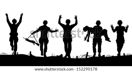 Illustrated silhouettes of a troop of defeated soldiers surrendering - stock photo