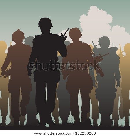 Illustrated silhouettes of armed soldiers walking together  - stock photo