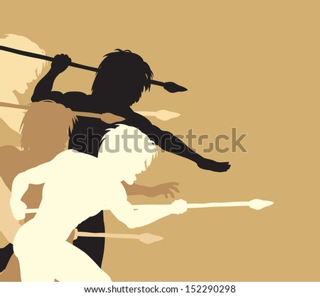 Illustrated silhouettes of cavemen holding spears threateningly - stock photo