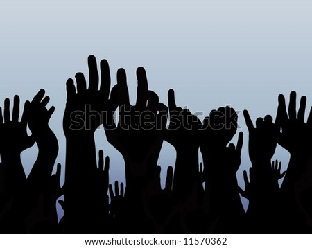 Illustrated silhouettes of many hands over a gradient blue background