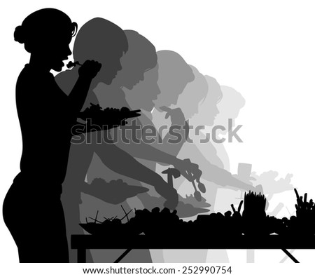 Illustrated silhouettes of people enjoying a buffet table - stock photo
