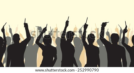 Illustrated silhouettes of people holding up pencils in support of freedom of expression - stock photo