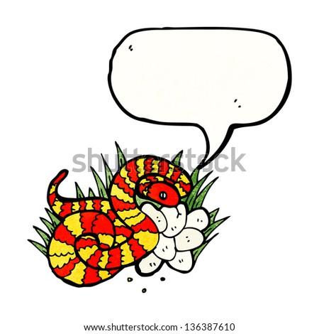 illustrated snake on nest of eggs - stock photo