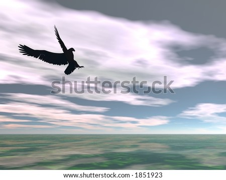 Illustrated surreal eagle flying over sea