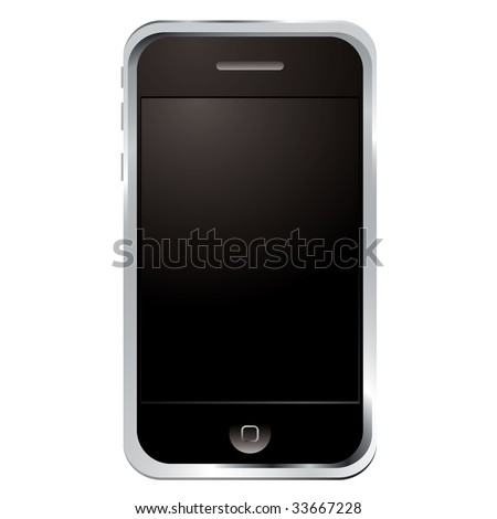 Illustrated technology phone with black screen and button - stock photo