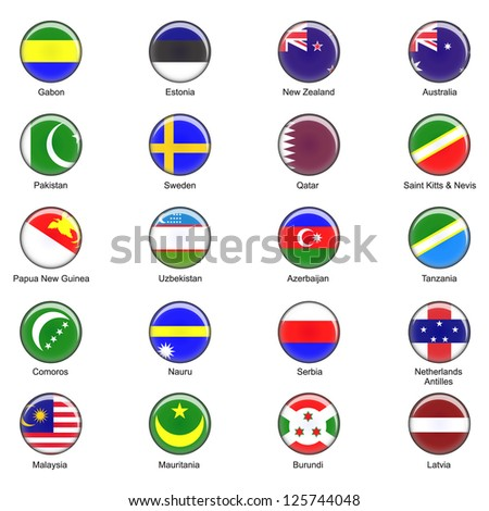 Illustrated Vector World Flag Buttons - Pack 7 of 8