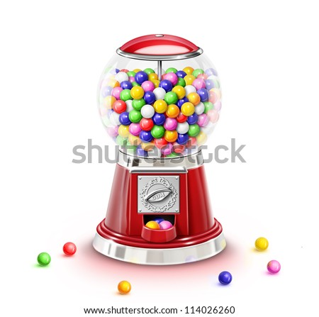 Illustrated Whimsical Gumball Machine with Gumballs