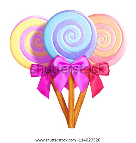 Illustrated Whimsical Lollipops with Bows - stock photo