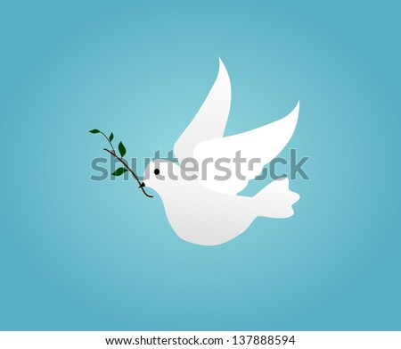 Illustrated white dove holding an olive branch - stock photo