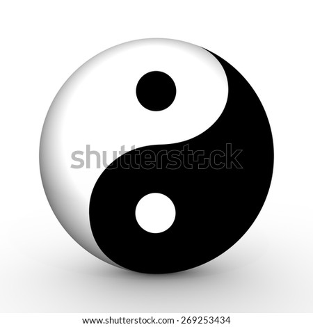 Illustrated Yin and Yang symbol - stock photo