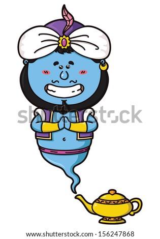 Illustratio nof funny Genie and his magic lamp - stock photo