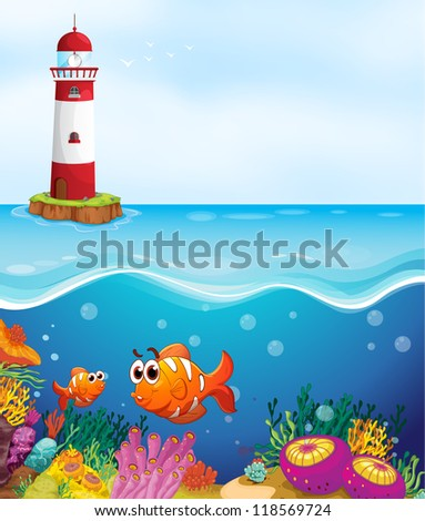 illustratio of a light house, fishes and coral in sea - stock photo