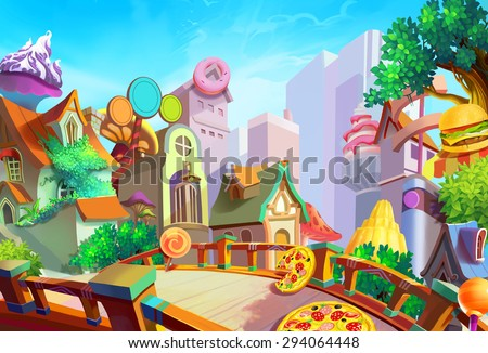 stock photo illustration a beautiful town with food falling from sky in the morning removed our lovely girl 294064448 - Каталог — Фотообои «Еда, фрукты, для кухни»