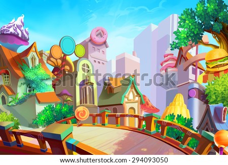 Illustration: A beautiful town with food falling from sky in the morning. Removed our lovely girl Lulu and the Pizza on the bridge. Fantastic / Cartoon Style. Wallpaper / Background / Scene Design - stock photo