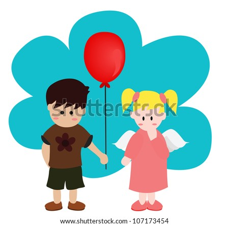 Illustration - A boy give a balloon to his angel. Concept:I'm shy. - stock photo