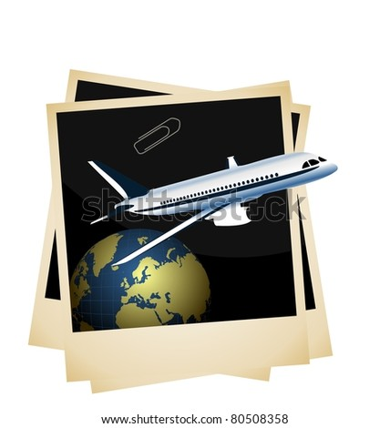 Illustration a conceptual composition - of the plane taking off from planet space on photoframe background - raster