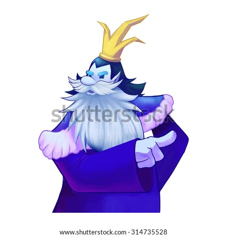 Illustration: A King Give Orders. Viking, Dwarf King, Big beard, Crown. Fantastic Cartoon Style Character Design.  - stock photo