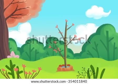 Illustration: A Little New Tree Planted in Arbor Day. Realistic Fantastic Cartoon Style Artwork / Story / Scene / Wallpaper / Background / Card Design - stock photo