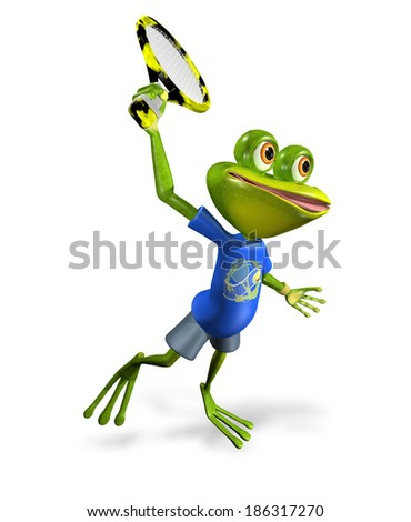illustration a merry green frog tennis player